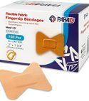 Flexible Fabric Bandages – Flex Fabric Adhesive Bandages Finger-Tip Bandages for Finger Care and to Protect Wounds from Infection – (100 Count Box)